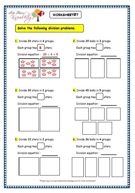 Grade 3 Maths Worksheets Division 6 2 Division By Grouping Lets Share Knowledge Division Worksheets Math Division Grade 3 Maths Worksheets 3rd grade division worksheet