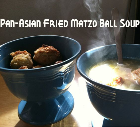 Pan-Asian Fried Matzo Ball Soup http://www.pasta.com/recipe/pan-asian-fried-matzo-ball-soup matzoball, matzo soup, chicken soup, chicken noodle soup, Asian soup, Jewish, Yiddish, chicken soup from scratch, healthy soup, low-fat, whole chicken recipe, family cooking