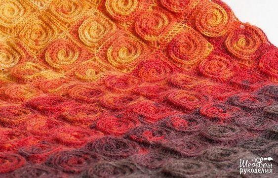Un couvre lit réalisé avec un super modèle de granny en forme de spirale.