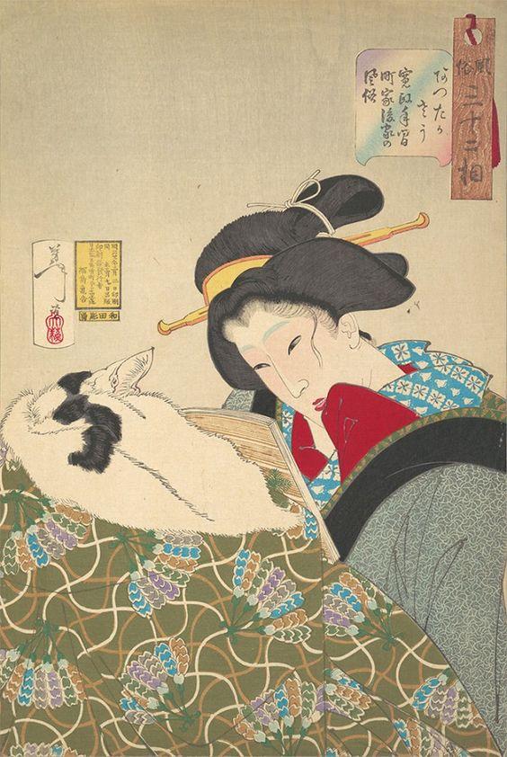 Looking Warm -a Widow of the Kansei era (Attakasau, あつたかさう 寛政年間町家後家の風俗) by Tsukioka Yoshitoshi  1888