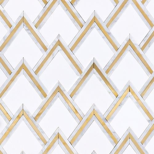 Bravos Thassos Carrara Brass Waterjet Mosaic Art Deco Bathroom Mosaic Sophisticated Bathroom