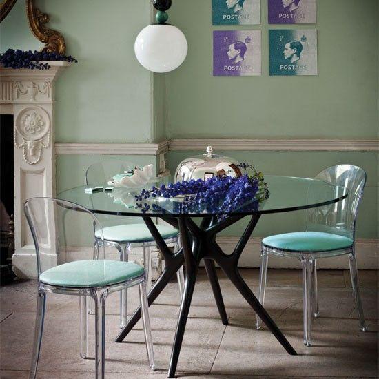 Mesa sala de janta - Tampo de vidro base de madeira mel