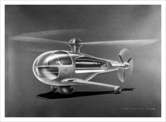 Personal Helicopter. Is that a rubber band inside?: 1944 Rotor, Rotor Ambulance, Helicopter Design, Future Concept Art, 1944 Industrial, Concept Helicopter, Design Retro Vintage, Industrial Design