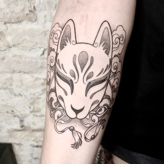Japanese Fox Mask Tattoo On The Arm Www Otziapp Com Mask Tattoo Kitsune Mask Tattoos