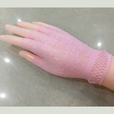 White club  Elbow Length fish net fingerless glove 2B