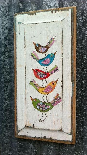 Aves de fantasía Original técnica mixta sobre madera: