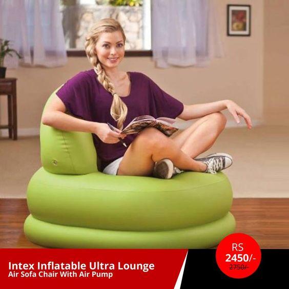 Intex Inflatable Ultra Lounge Air Sofa Chair With Air Pump (602-620-6539-Sycamore) Rs: 2450