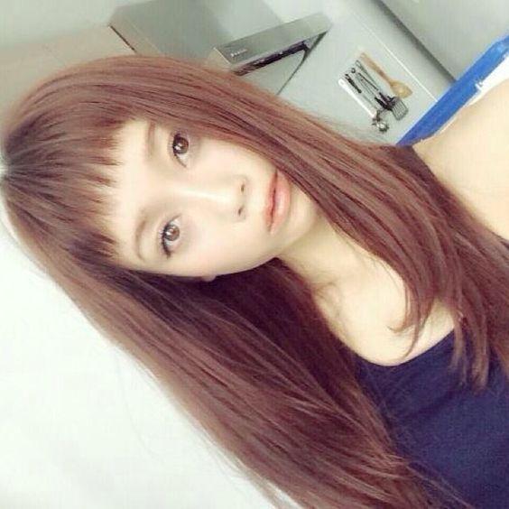 透かしオン眉前髪×ストレート