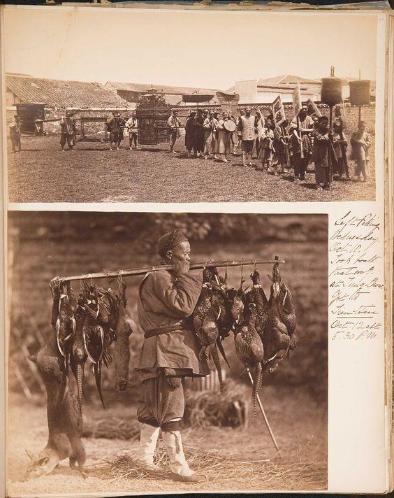 From Isabella Stewart Gardner's 1883 China travel album. Photo at bottom: man carrying game, William Saunder, ca. 1871: http://www.gardnermuseum.org/microsites/travelalbums/#/4/23/1/4.8/v_1_a_4_8044