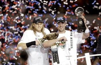 Aaron Rogers celebrates at Super Bowl XLV