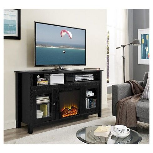 58 Wood Highboy Fireplace Media Tv Stand Console Saracina Home