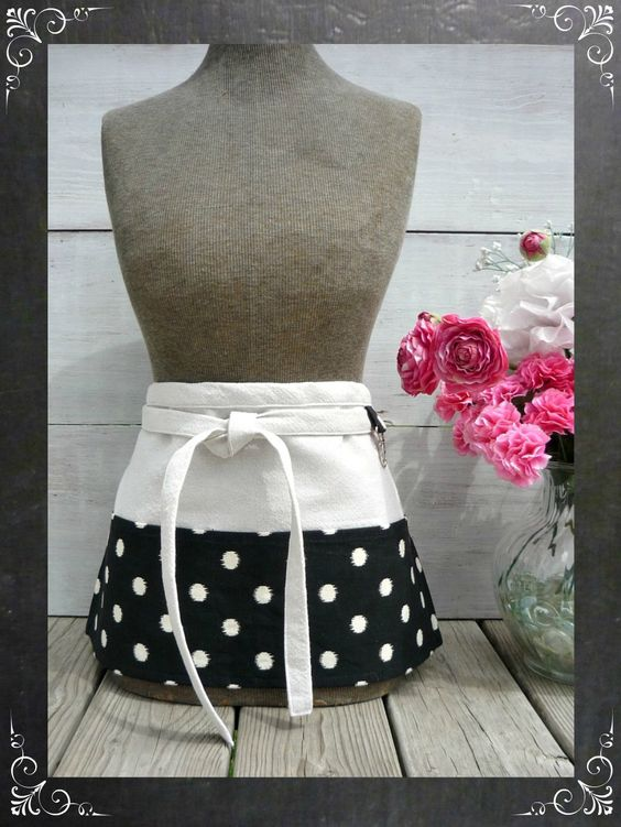 Black and white polka dot half apron - perfect for vendors or shops!