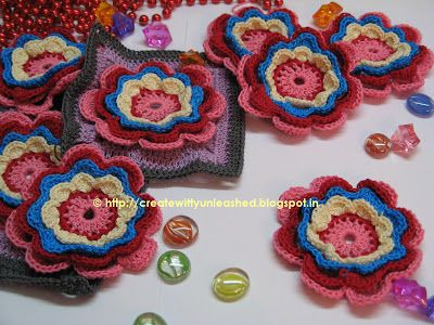 from the blog  createwittyunleashed.blogspot.in  Crochet flowers: Crochet Flowers, Crochet Table, Unleashed Splashed, Crocheting Knitting, Colorful Blooms, Createwittyunleashed Blogspot, Flower Squares, Blog Createwittyunleashed
