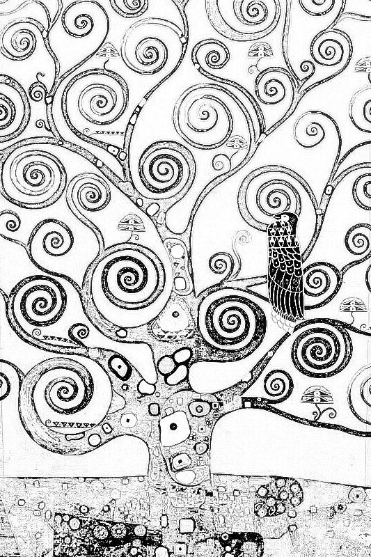Coloriage Arbre De Klimt Graphisme En Noir Et Blanc