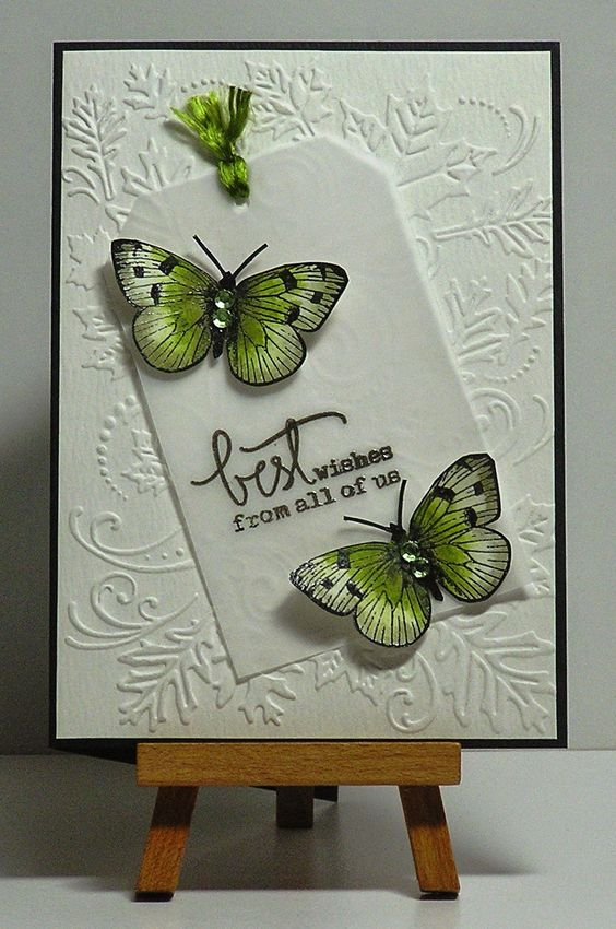 I LOVE this one, would never have thought of those colours. Intense pencils Hero Arts butterfly stamp: Mama Elephant Every day Greetings stamp; versafine & clear ep; MFT tag die; vellum; inktense pencils; bling; Darice embossing folder.: