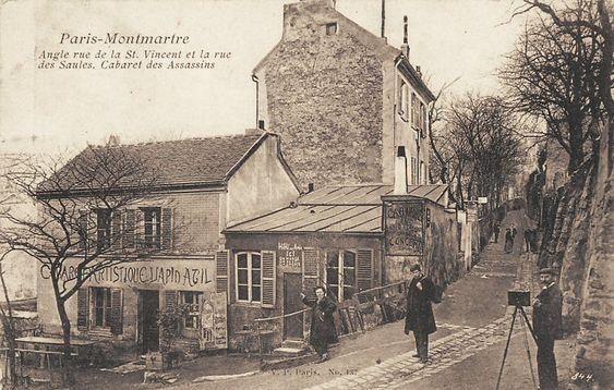 """carrefour de la rue Saint-Vincent et la rue des Saules et le """"Cabaret des Assassins"""" (Le Lapin Agile)"""