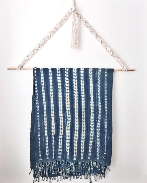 Authentic African vintage indigo throw with beautiful gold thread woven…
