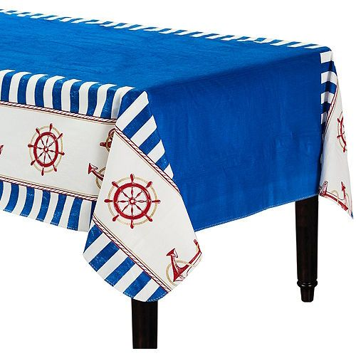Striped Nautical Flannel Backed Vinyl Tablecloth 52in X 90in Vinyl Tablecloth Nautical Themed Party Table Cloth