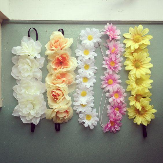 Flower Headbands always wanted one -plastic flowers -hot glue -elastic headbands                                                                                                                                                      More