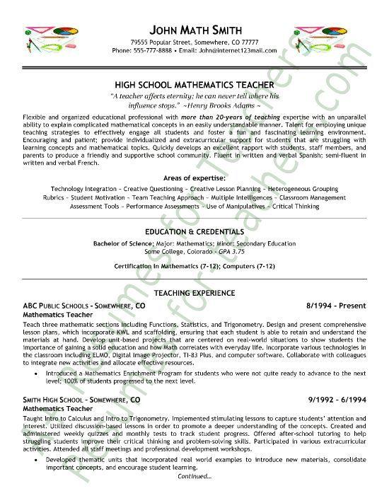 Math Teacher Resume Sample - Page 1 | Mathe, Lehrer Lebenslauf Und