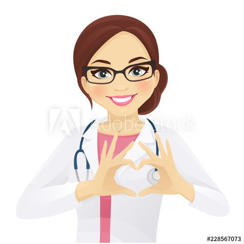 Smiling Woman Doctor Or Nurse With Stethoscope Showing Heart Sign Isolated Vector Illustration In 2021 Female Doctor Dentist Cartoon Medical Stickers