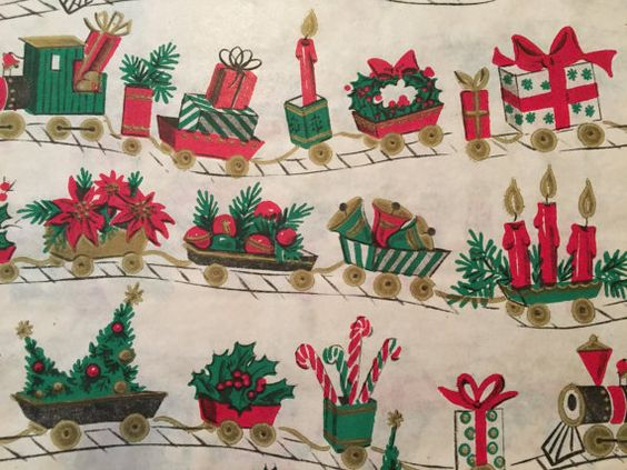 Vintage Christmas Wrapping Paper - Santa's Holiday Train filled with Christmas Cheer - Gold - 1 Unused Full Sheet Christmas Gift Wrap by TheGOOSEandTheHOUND