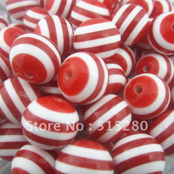 100pcs Red 20mm Resin Stripe Beads For Chunky Necklace