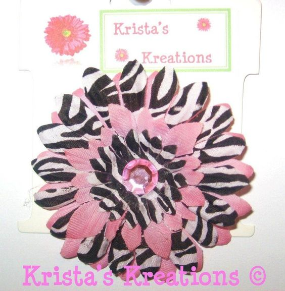 #C-Z06: Mini Pink Zebra Gerbera Pink Rhinestone Black Lined Alligator Clip #Pink #Zebra #Black #Layered #Gerbera #Daisy #Flower #HairClip #Clip #AlligatorClip #KristasKreations https://www.facebook.com/KristasKreationsEtc