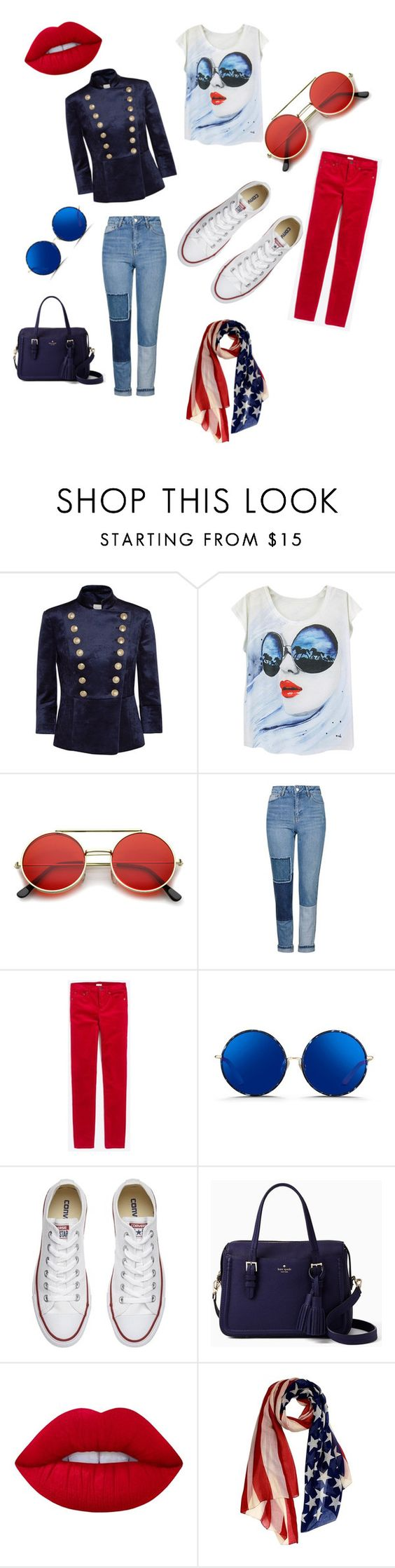 """""""USA  - Made by: Tamara Hussein"""" by tamarahussein ❤ liked on Polyvore featuring Pierre Balmain, ZeroUV, Topshop, J.Crew, Matthew Williamson, Converse, Kate Spade and Lime Crime"""