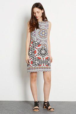 TILE PRINT SHIFT DRESS