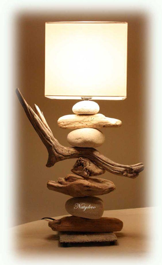 Lampe en bois flott natydeco for Lampe en bois flotte artisanale