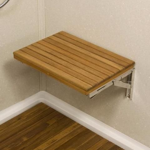 30 Wall Mount Fold Down Teak Shower Bench With Slot Openings