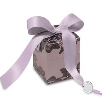 LACY - Luxury Folding Box in mauve  with satin ribbon. Printed with an elegant black lace motif partially highlighted with gloss varnish. The perfect packaging for your gifts. €2.90