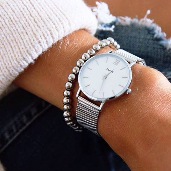 CLUSE - Minuit Mesh Silver/White horloge 33mm