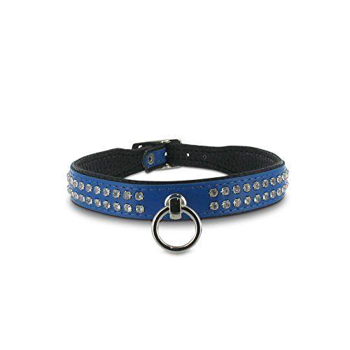SiaLinda: Halsband echtes Leder mit Strass blau 20mm breit