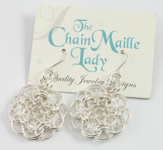 Chain maille earrings.