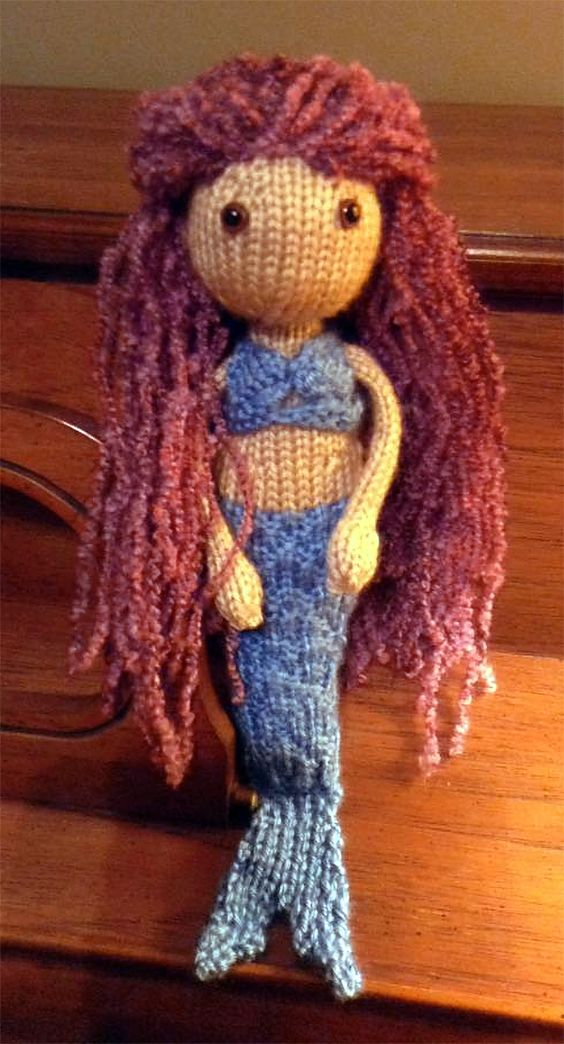 Free Knitting Pattern for Mermaid Toy- Doll designed by Chris Collins.