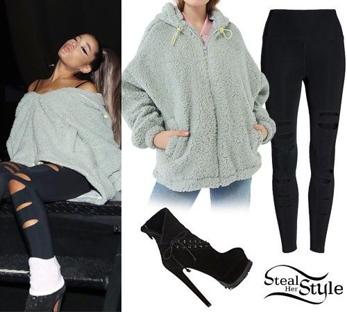 Gray Top Black Leggings Ariana Grande Outfits Casual Ariana