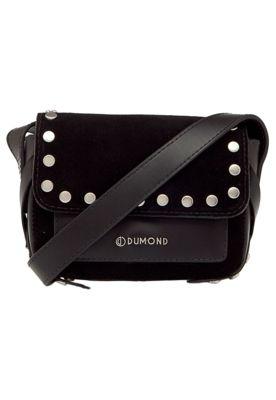 Bolsa Dumond Pequena Tiracolo Preta, com alça regulável de 56cm, aplique de tachas, logo em metal, bolso interno e fechamento por botão magnético.