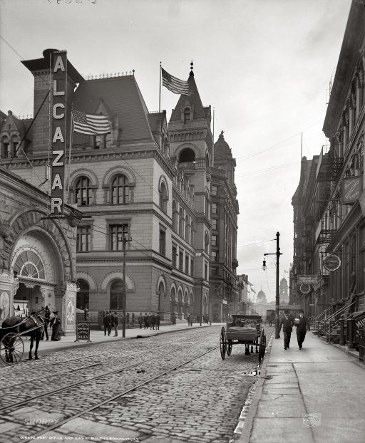 "1906. ""Post Office and Eagle Building. Brooklyn, N.Y."" At the Alcazar Theatre: ""smoking concerts."""