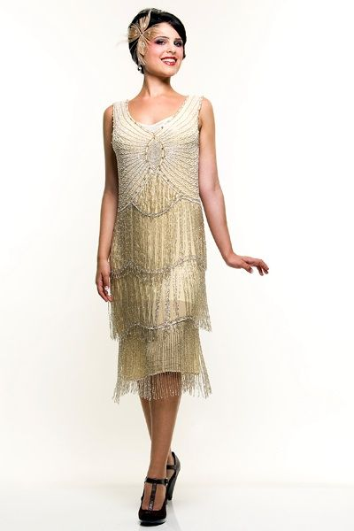 Ivory &amp Silver Beaded Fringe Reproduction Flapper Dress  Wearable ...
