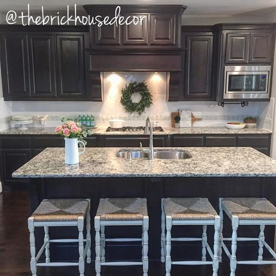 Kitchen Decor Dark Cabinets Cabinetry Herringbone Backsplash Farmhouse Style