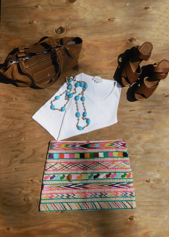 A cool summer look at consignista.com.  Celine White Tank $49.00 Prada Tote $ Barneys of New York Wedges $ Gryphon Tapestry Skirt $ *NEW* Necklace $ 112.50 *NEW*