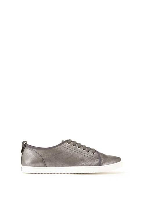 Pewter Emily Metallic Leather Trainers...love the metallic... feels a bit different...