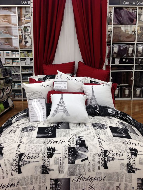 Grey walls paris themed bedding and bed bath on pinterest for London themed bathroom accessories