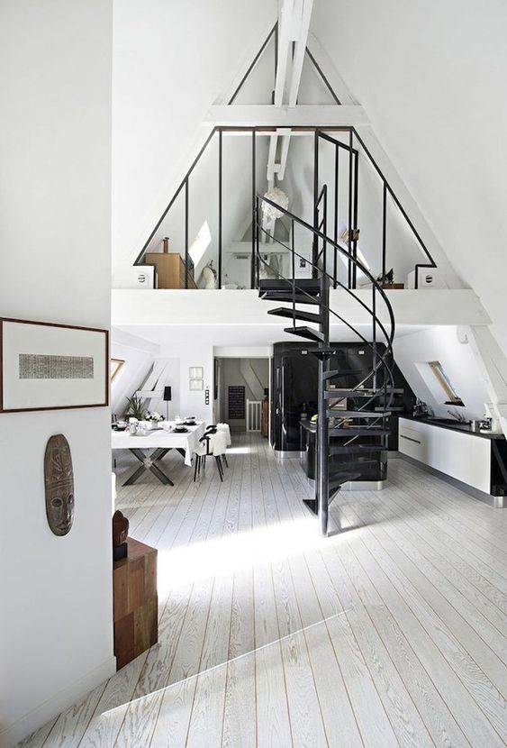 An White Attic Conversion With Industrial Details In Paris:
