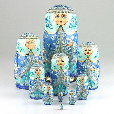 Blue Snow Princess Nesting Doll $246.99: