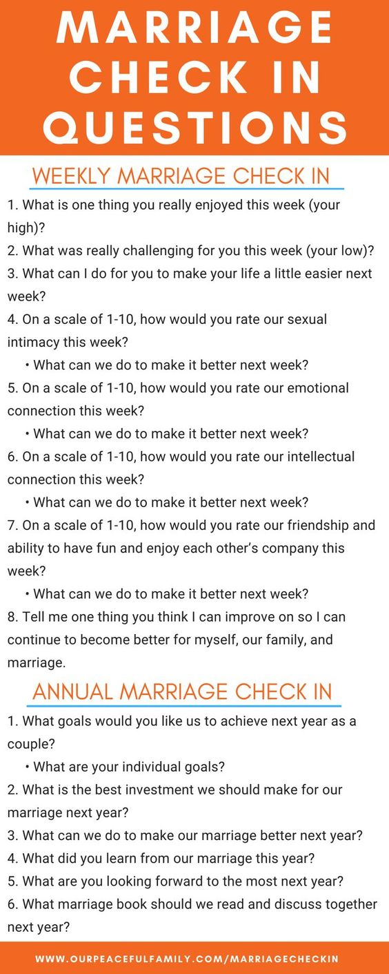 Use these marriage check in questions for your next marriage check up. Whether you have a daily, weekly, monthly or yearly checkup, these insightful questions will be useful. To learn how to have a marriage checkup with your spouse, just click on the image for our step-by-step guide. #ourpf #marriage #checkin #checkup #questions #howto #couples #married #relationships #stateofmarriage #address #husband #wife #relationships