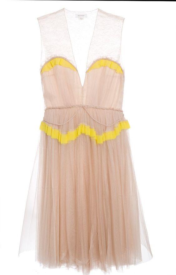 Delpozo Silk Tulle Dress // bright and nude