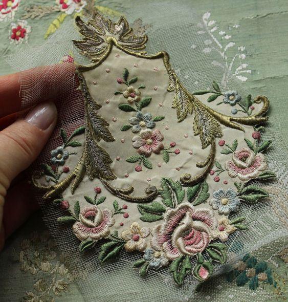 Antique gorgeous French silk metal applique floral piece trim roses curving pastel thread: